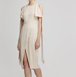 Keepsake Two Winds Cold Shoulder Wrap Midi Dress S